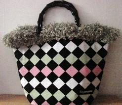 NWOT Bag Daddy Fabric Lime Green Pink Black Handbag Black Bamboo Style Handles image 1