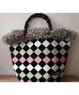NWOT Bag Daddy Fabric Lime Green Pink Black Handbag Black Bamboo Style H... - $32.00