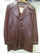 Men's Vintage Bermans Brown Leather Coat Size 40 image 4