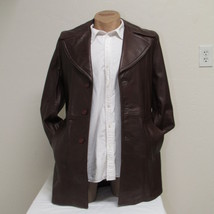 Men's Vintage Bermans Brown Leather Coat Size 40 image 3