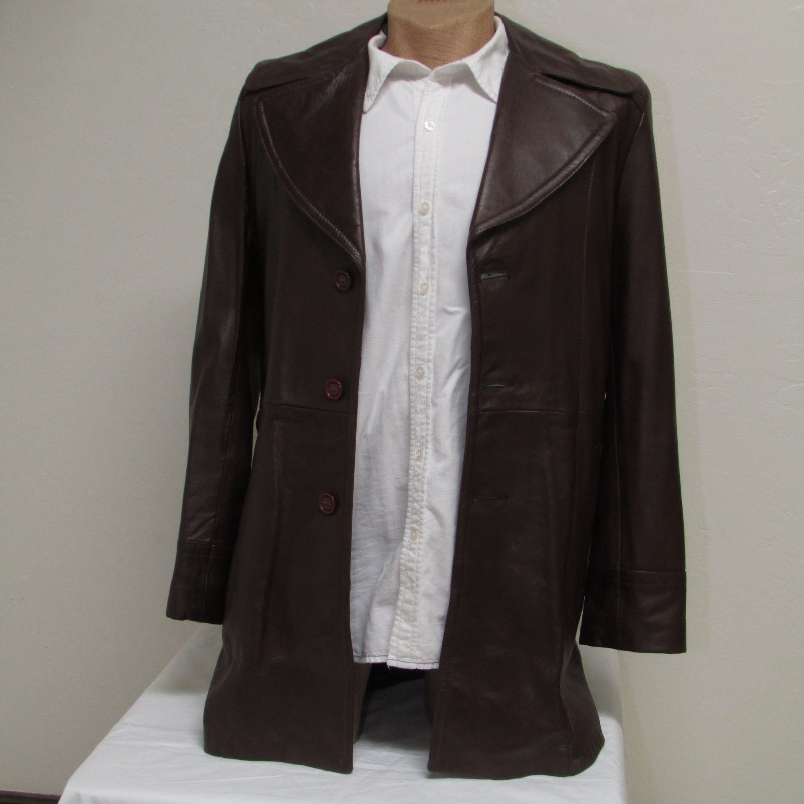 Men's Vintage Bermans Brown Leather Coat Size 40