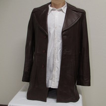 Men's Vintage Bermans Brown Leather Coat Size 40 image 1