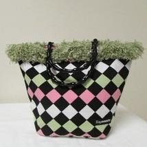 NWOT Bag Daddy Fabric Lime Green Pink Black Handbag Black Bamboo Style Handles image 4