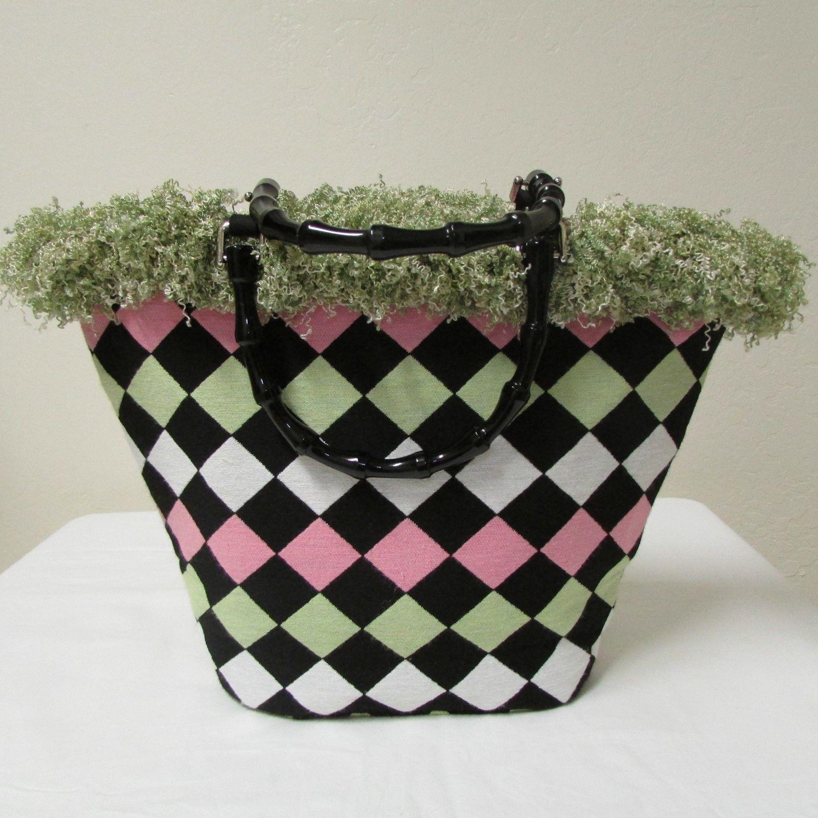 NWOT Bag Daddy Fabric Lime Green Pink Black Handbag Black Bamboo Style Handles image 2