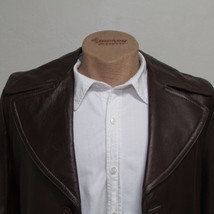Men's Vintage Bermans Brown Leather Coat Size 40 image 2