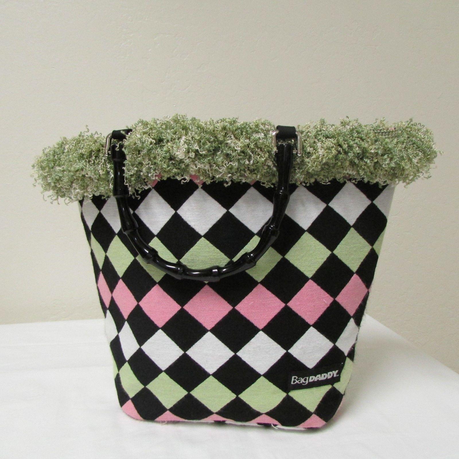 NWOT Bag Daddy Fabric Lime Green Pink Black Handbag Black Bamboo Style Handles image 3