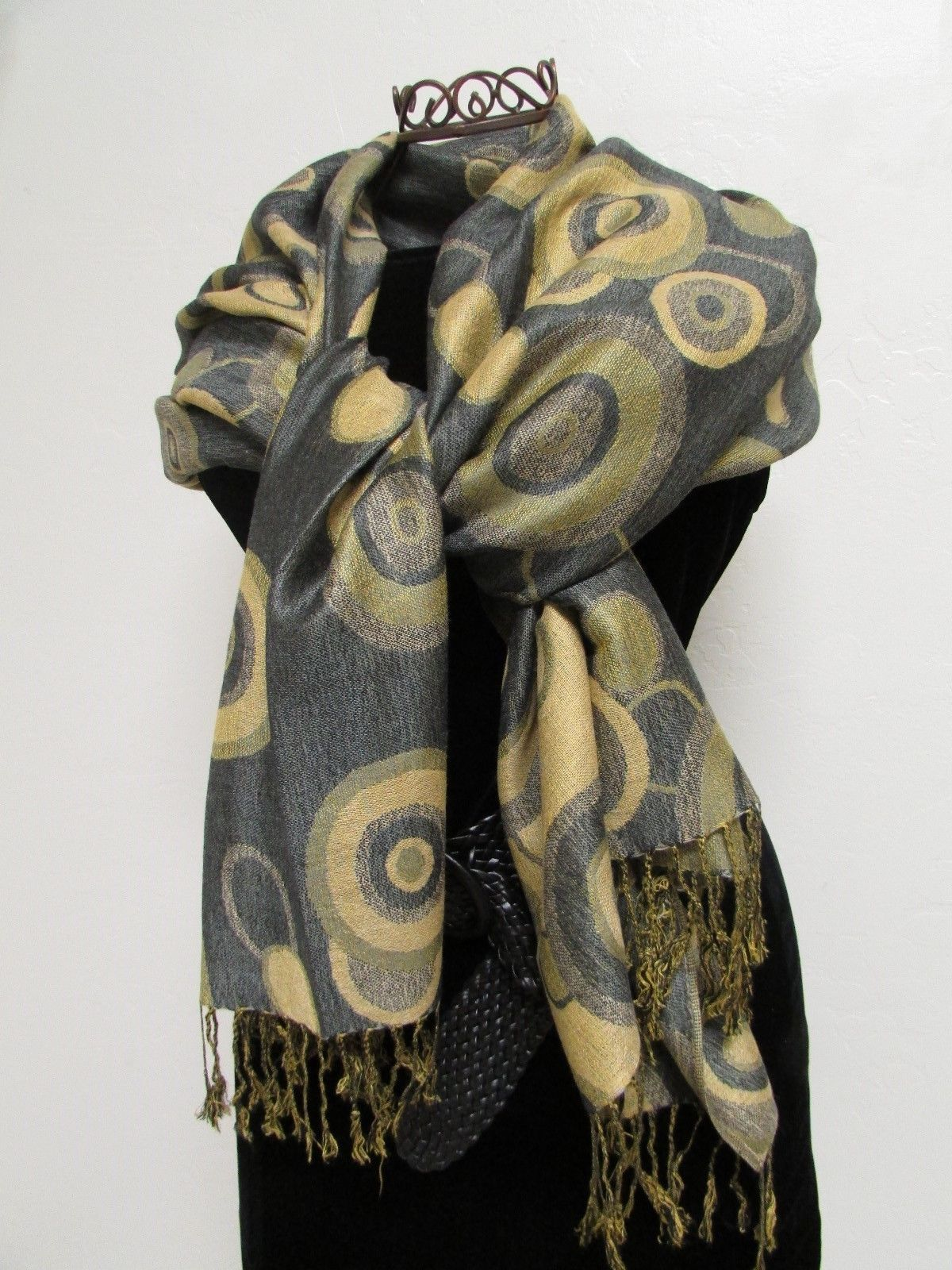 Beautiful Retro Design Pashmina And Silk Scarf, Shawl In Green Black & Tan image 4