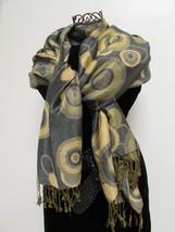 Beautiful Retro Design Pashmina And Silk Scarf, Shawl In Green Black & Tan image 4