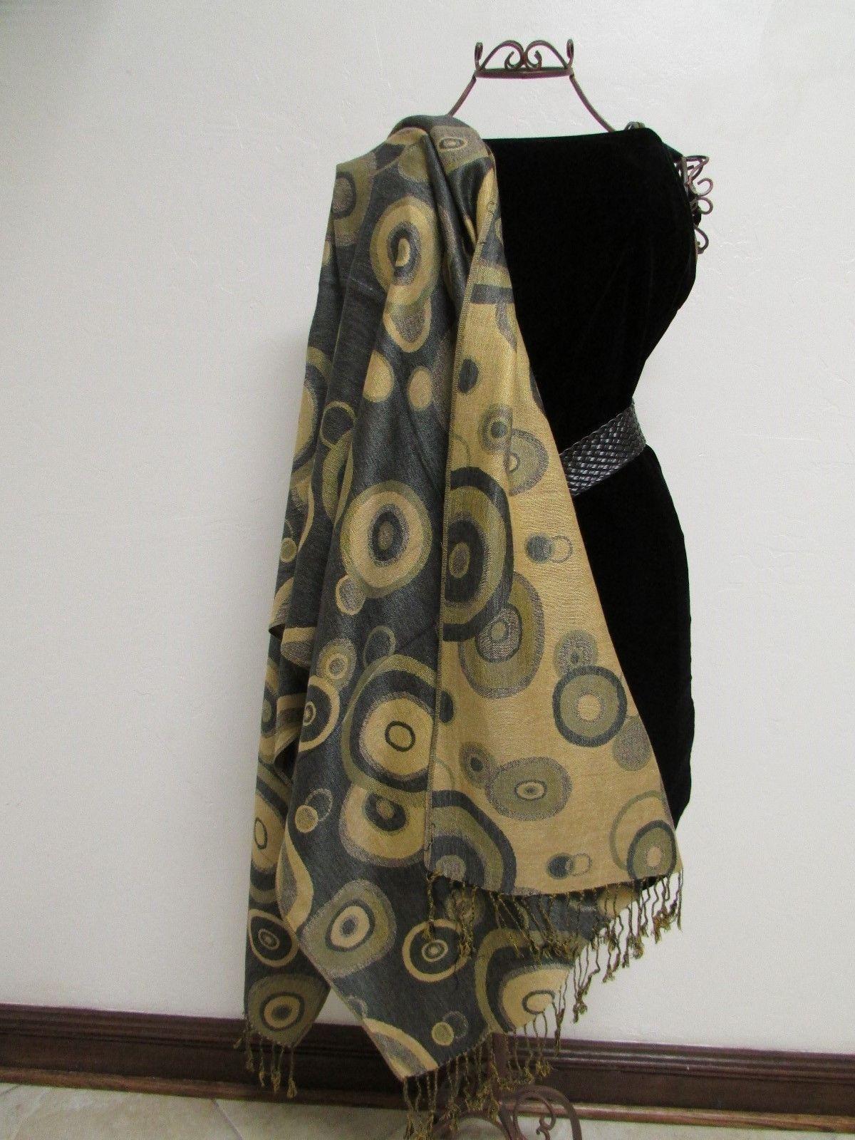 Beautiful Retro Design Pashmina And Silk Scarf, Shawl In Green Black & Tan
