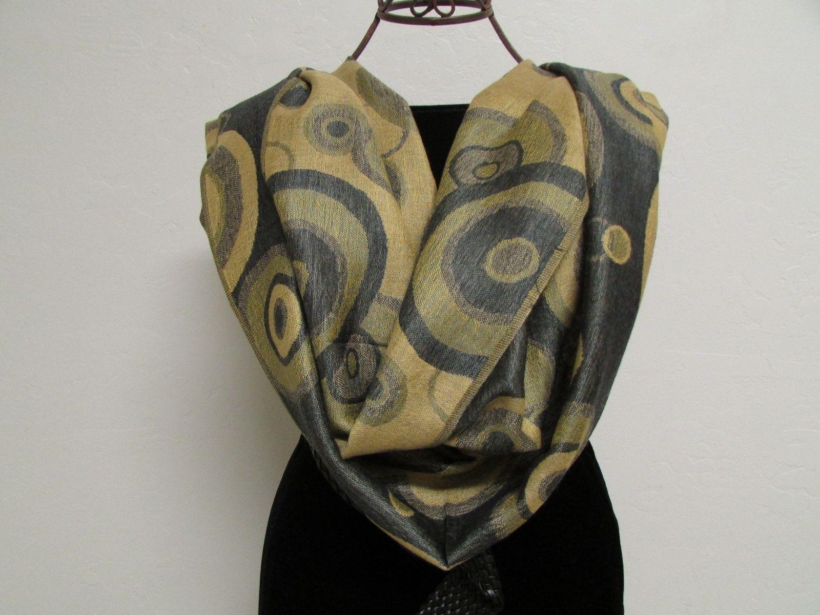 Beautiful Retro Design Pashmina And Silk Scarf, Shawl In Green Black & Tan image 2