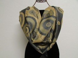 Beautiful Retro Design Pashmina And Silk Scarf, Shawl In Green Black & Tan image 2
