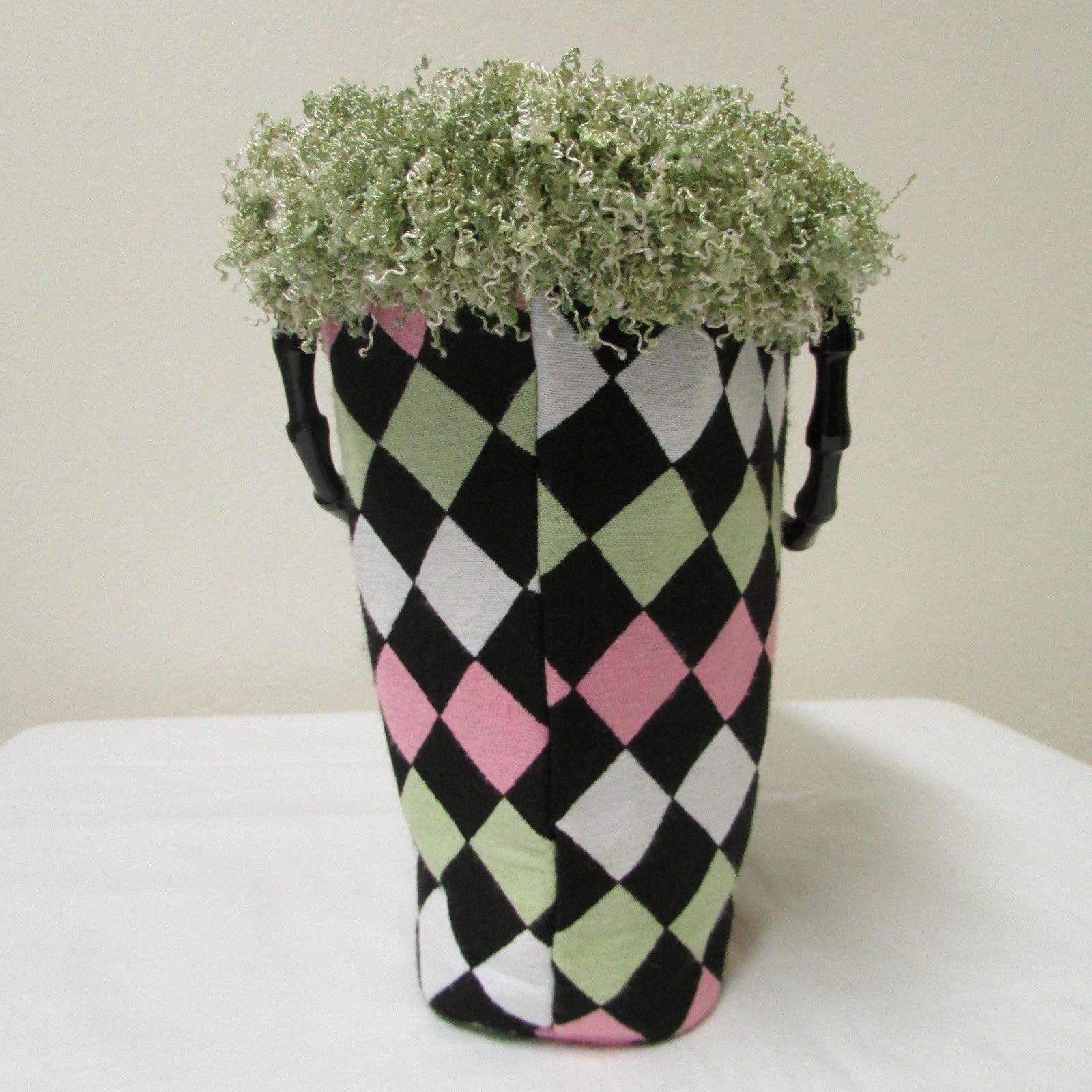 NWOT Bag Daddy Fabric Lime Green Pink Black Handbag Black Bamboo Style Handles image 5