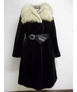 Women's Laska Seal Black Faux Fur With Creamy White Fox Fur Collar Size ... - $155.00