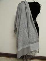 Exquisite Pashmina And Silk Scarf, Shawl Tone On Tone Gray image 1