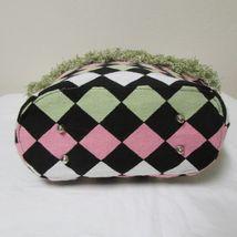 NWOT Bag Daddy Fabric Lime Green Pink Black Handbag Black Bamboo Style Handles image 6