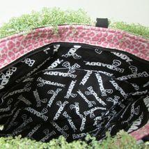NWOT Bag Daddy Fabric Lime Green Pink Black Handbag Black Bamboo Style Handles image 7