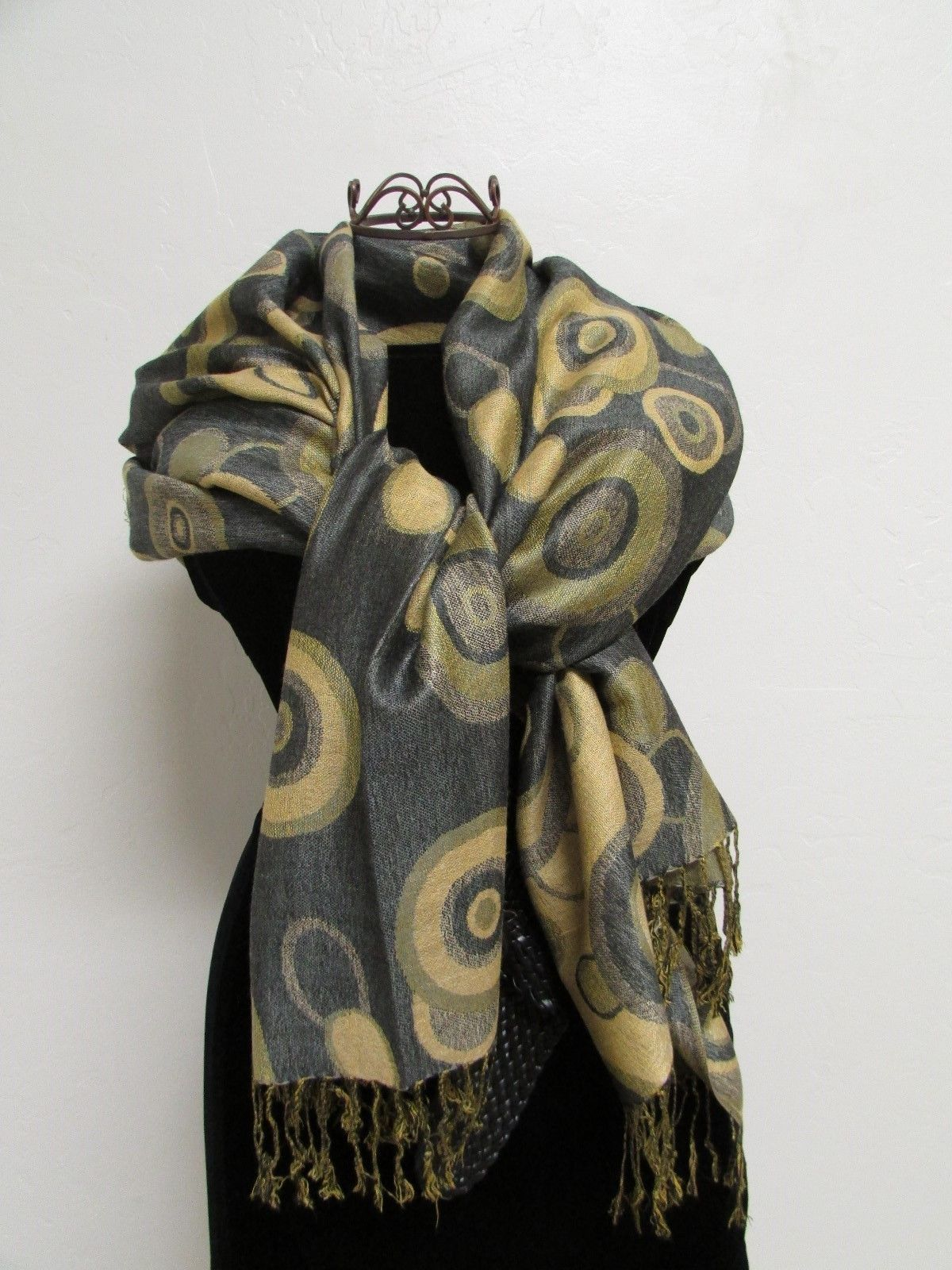 Beautiful Retro Design Pashmina And Silk Scarf, Shawl In Green Black & Tan image 5