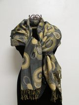 Beautiful Retro Design Pashmina And Silk Scarf, Shawl In Green Black & Tan image 5