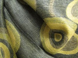 Beautiful Retro Design Pashmina And Silk Scarf, Shawl In Green Black & Tan image 6