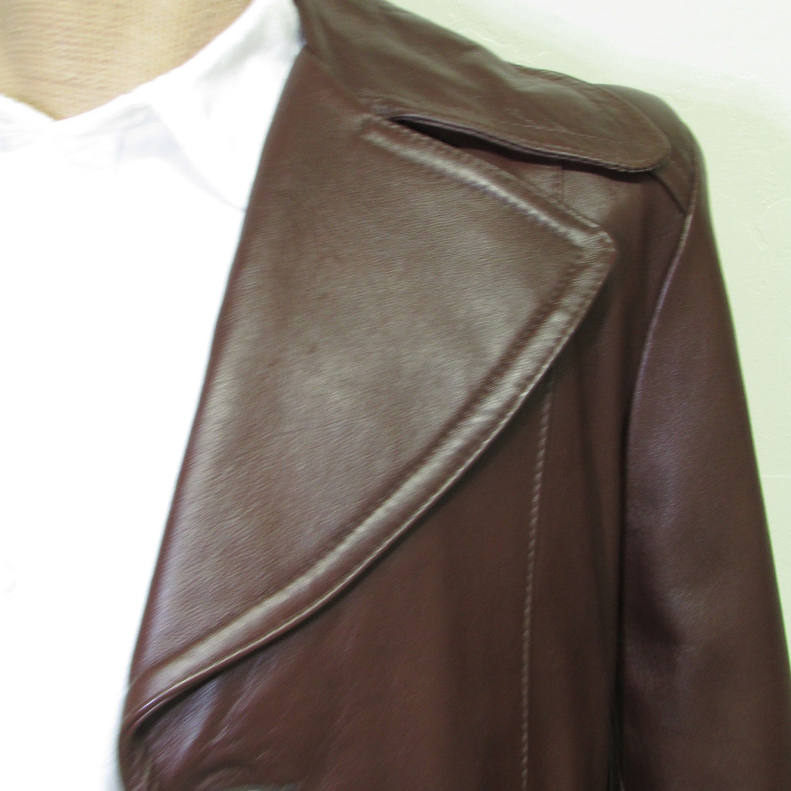 Men's Vintage Bermans Brown Leather Coat Size 40 image 7