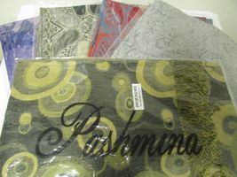 Beautiful Retro Design Pashmina And Silk Scarf, Shawl In Green Black & Tan image 8
