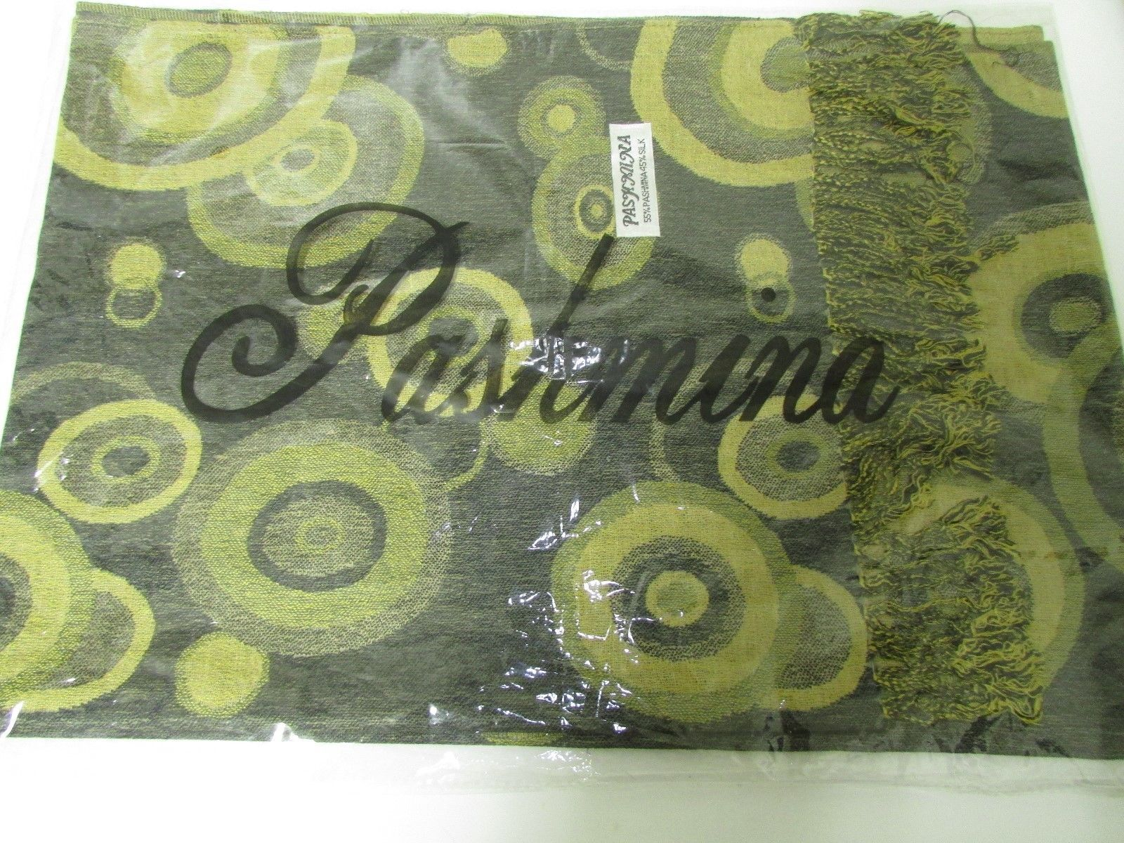 Beautiful Retro Design Pashmina And Silk Scarf, Shawl In Green Black & Tan image 7