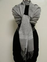 Exquisite Pashmina And Silk Scarf, Shawl Tone On Tone Gray image 6