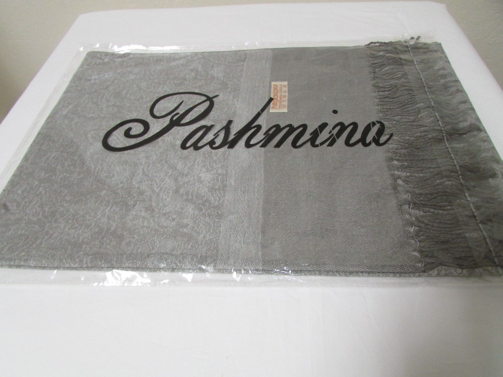 Exquisite Pashmina And Silk Scarf, Shawl Tone On Tone Gray image 8