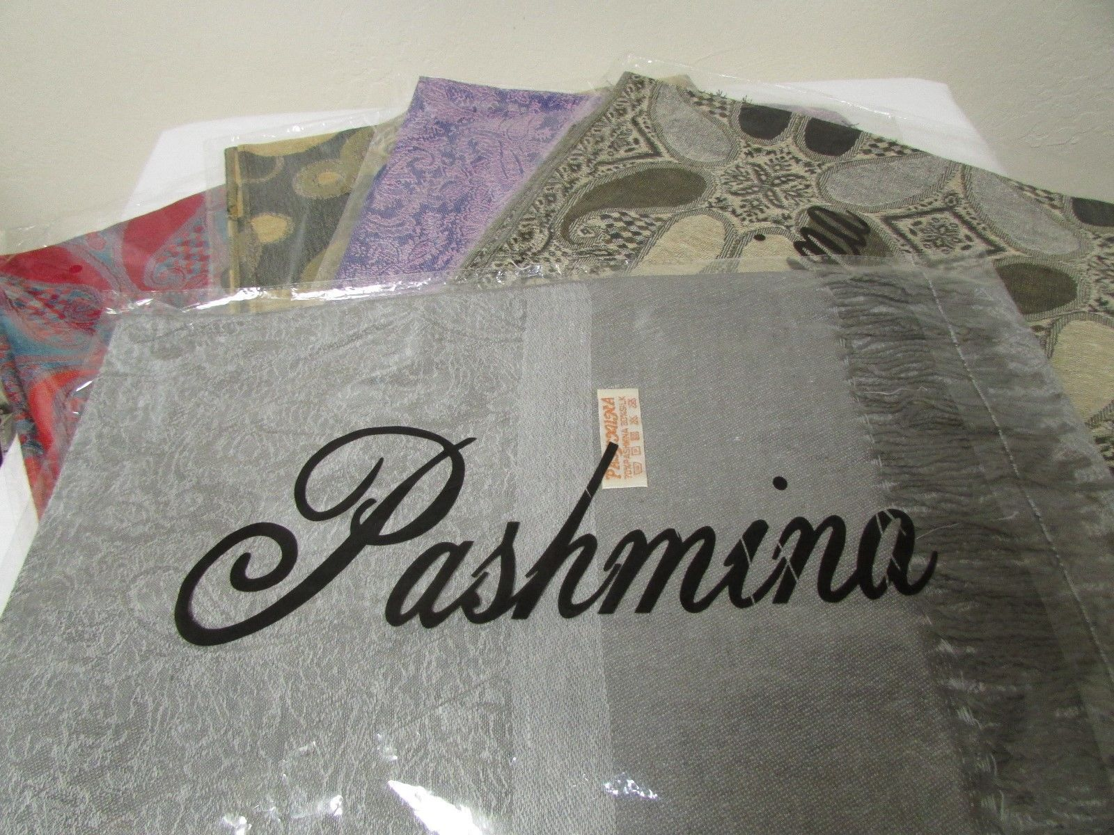 Exquisite Pashmina And Silk Scarf, Shawl Tone On Tone Gray image 9