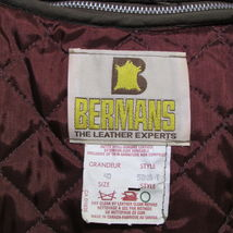 Men's Vintage Bermans Brown Leather Coat Size 40 image 9