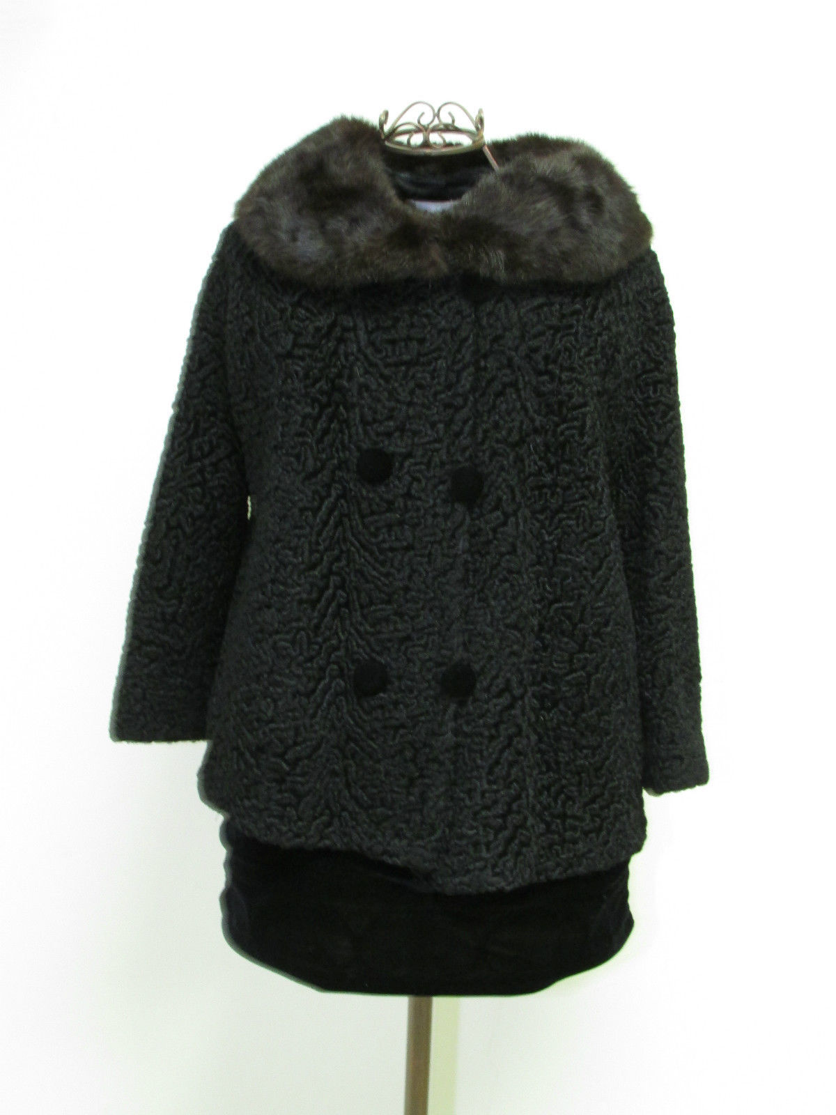 Vintage Black Persian Lamb Bolero Style Jacket With Rabbit Fur Collar