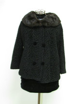 Vintage Black Persian Lamb Bolero Style Jacket With Rabbit Fur Collar image 1