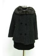 Vintage Black Persian Lamb Bolero Style Jacket With Rabbit Fur Collar - $175.00