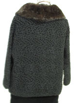 Vintage Black Persian Lamb Bolero Style Jacket With Rabbit Fur Collar image 2