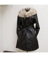Beautiful Knee Length Women's Vintage Black Leather Jacket Size 14 - $190.00