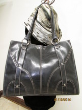 Simulated Large Black Faux Leather Shoulder Tote by Emilie M. image 1