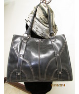 Simulated Large Black Faux Leather Shoulder Tote by Emilie M. - $30.00