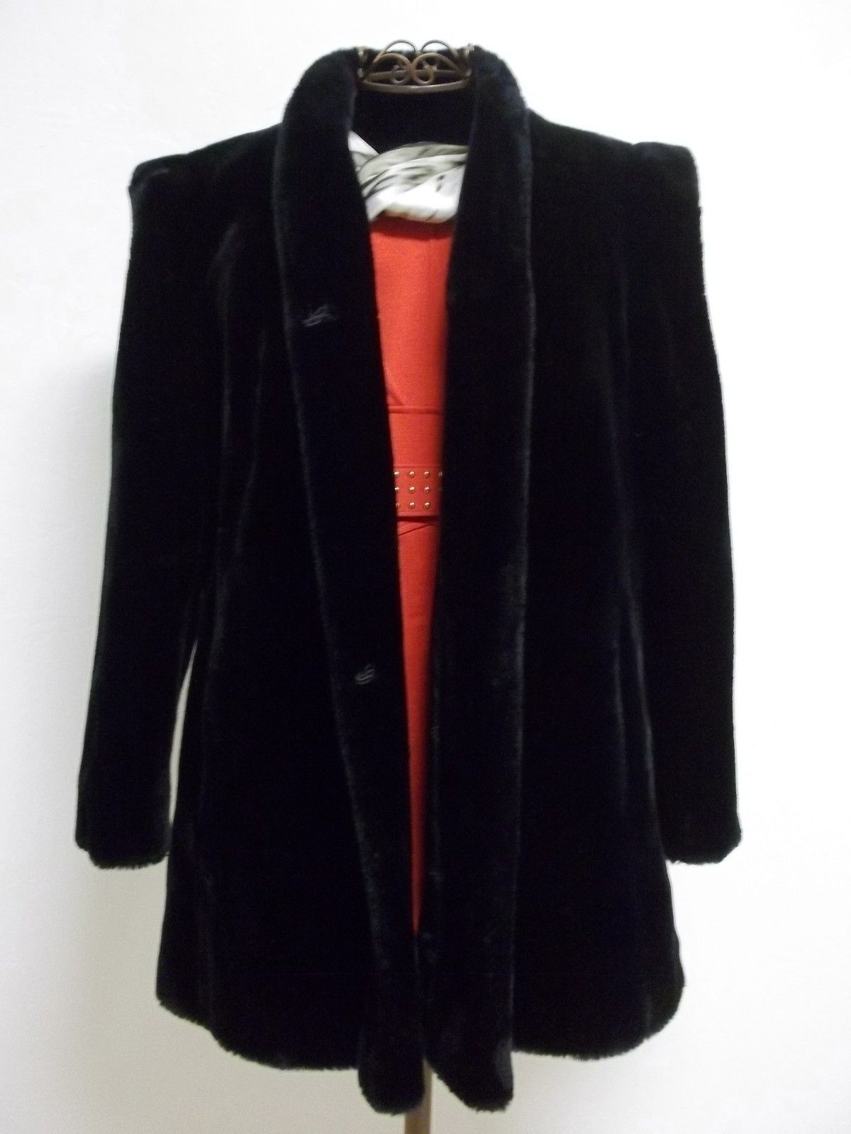 Beautiful Vintage Women's Sz 14 1/2 Black Faux Fur intrigue by Glenoit image 1