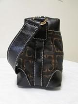 Vintage Liz Claiborne Black With Brown And Gold Fabric Shoulder Handbag Sz S image 2