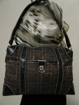 Vintage Liz Claiborne Black With Brown And Gold Fabric Shoulder Handbag Sz S image 1