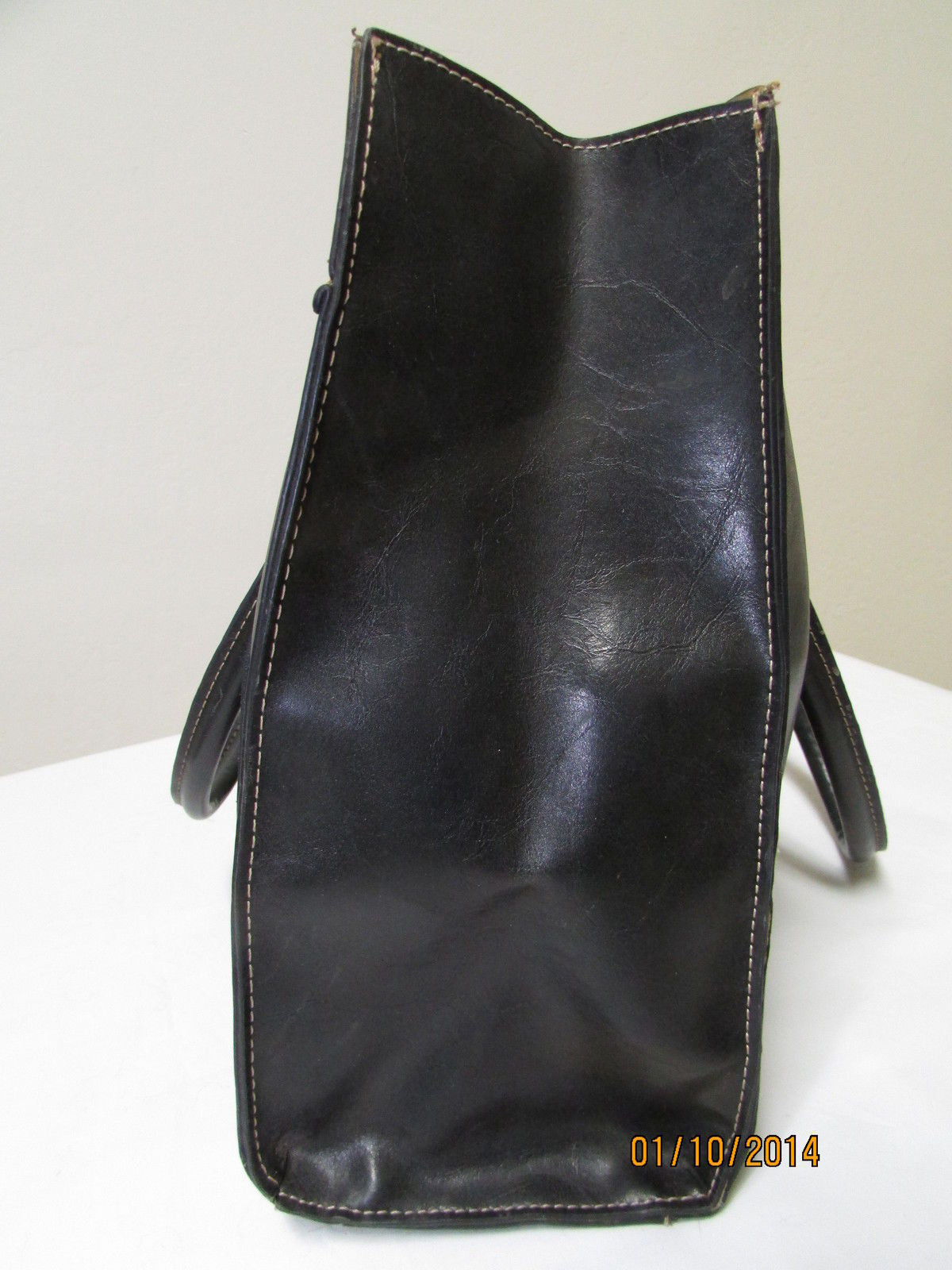 Simulated Large Black Faux Leather Shoulder Tote by Emilie M. image 3