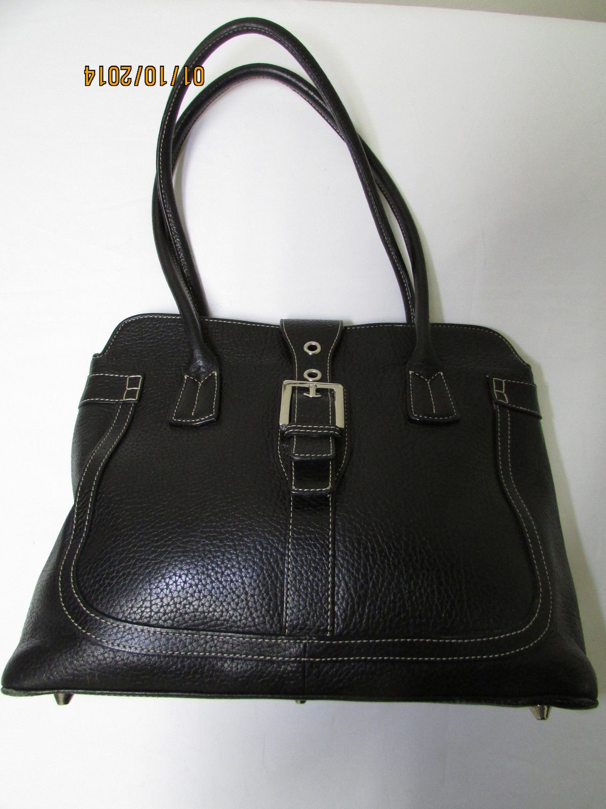 Exceptional Mila Paoli Genuine Black Pebble Leather Shoulder Bag