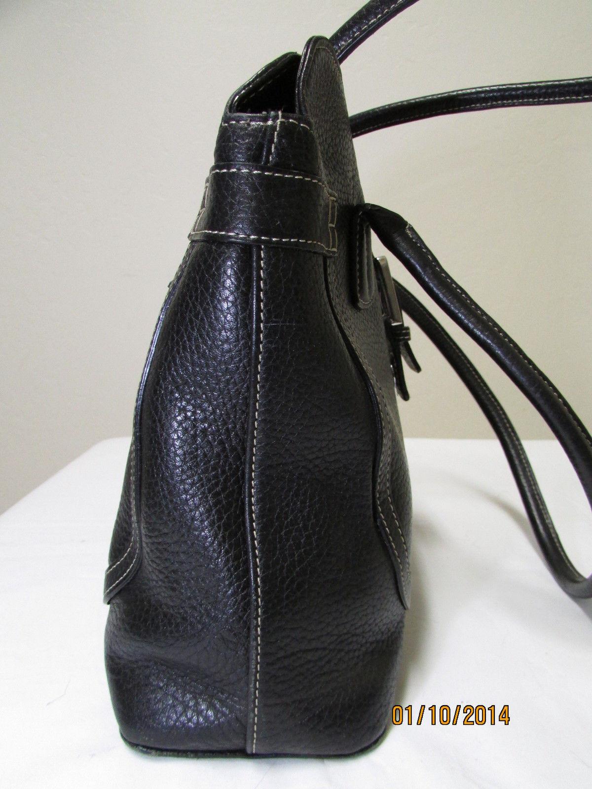 Exceptional Mila Paoli Genuine Black Pebble Leather Shoulder Bag image 4