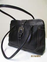 Exceptional Mila Paoli Genuine Black Pebble Leather Shoulder Bag image 3