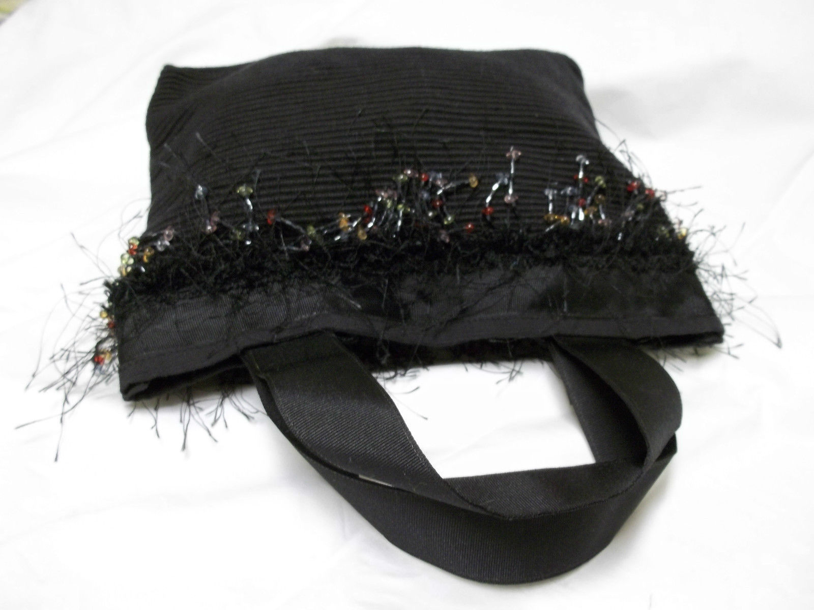 Small Black Cloth Bag With Beautiful Beaded Trim
