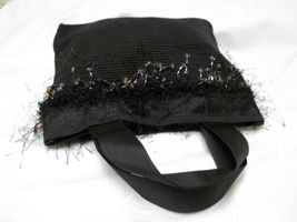 Small Black Cloth Bag With Beautiful Beaded Trim image 1