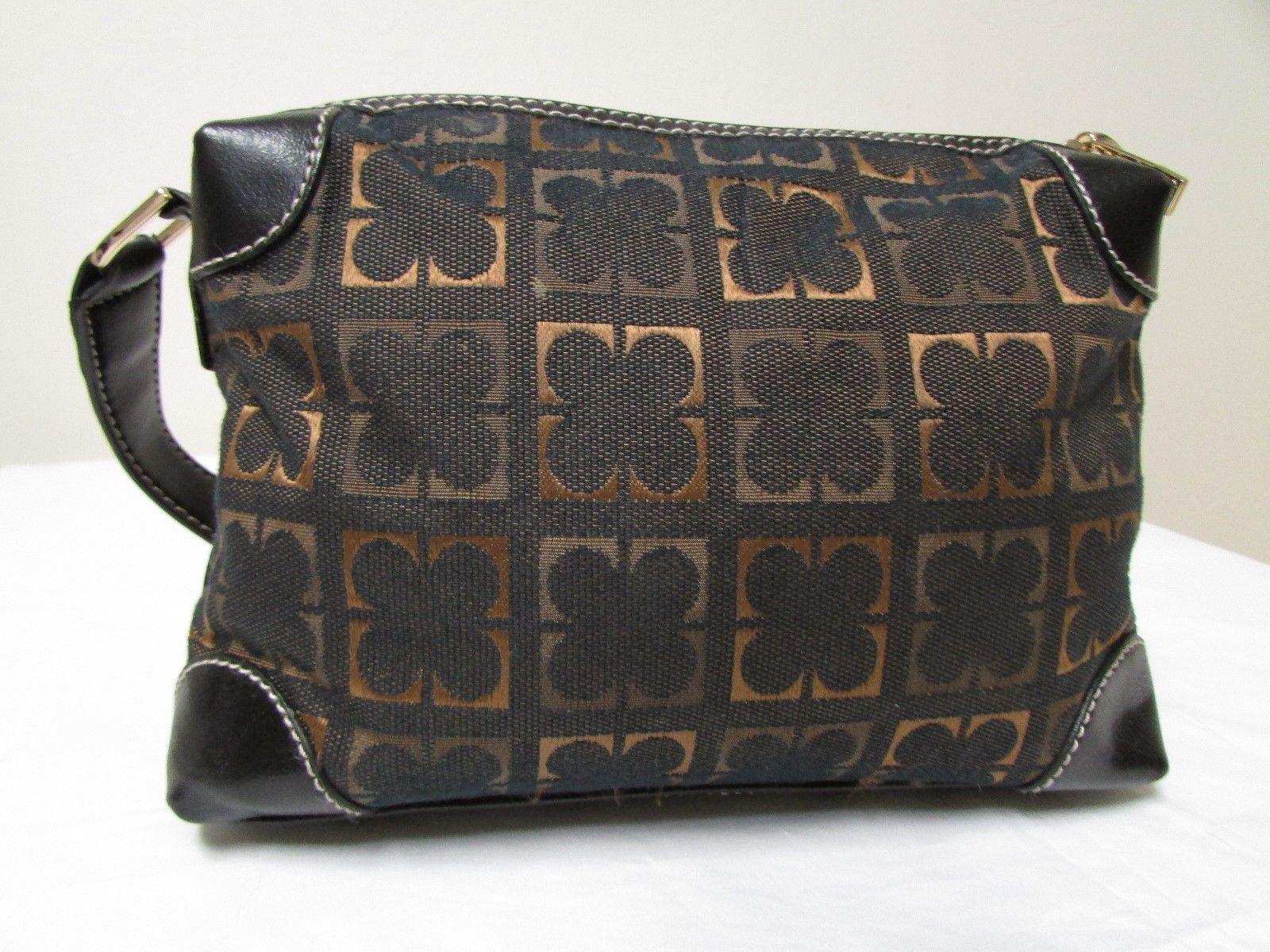 Vintage Liz Claiborne Black With Brown And Gold Fabric Shoulder Handbag Sz S image 3