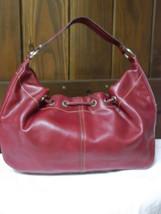 Liz Claiborne Faux Red Pebbled Leather Shoulder Bag image 3
