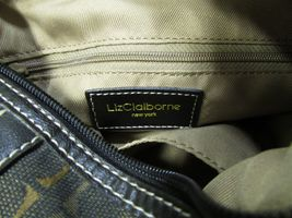 Vintage Liz Claiborne Black With Brown And Gold Fabric Shoulder Handbag Sz S image 6