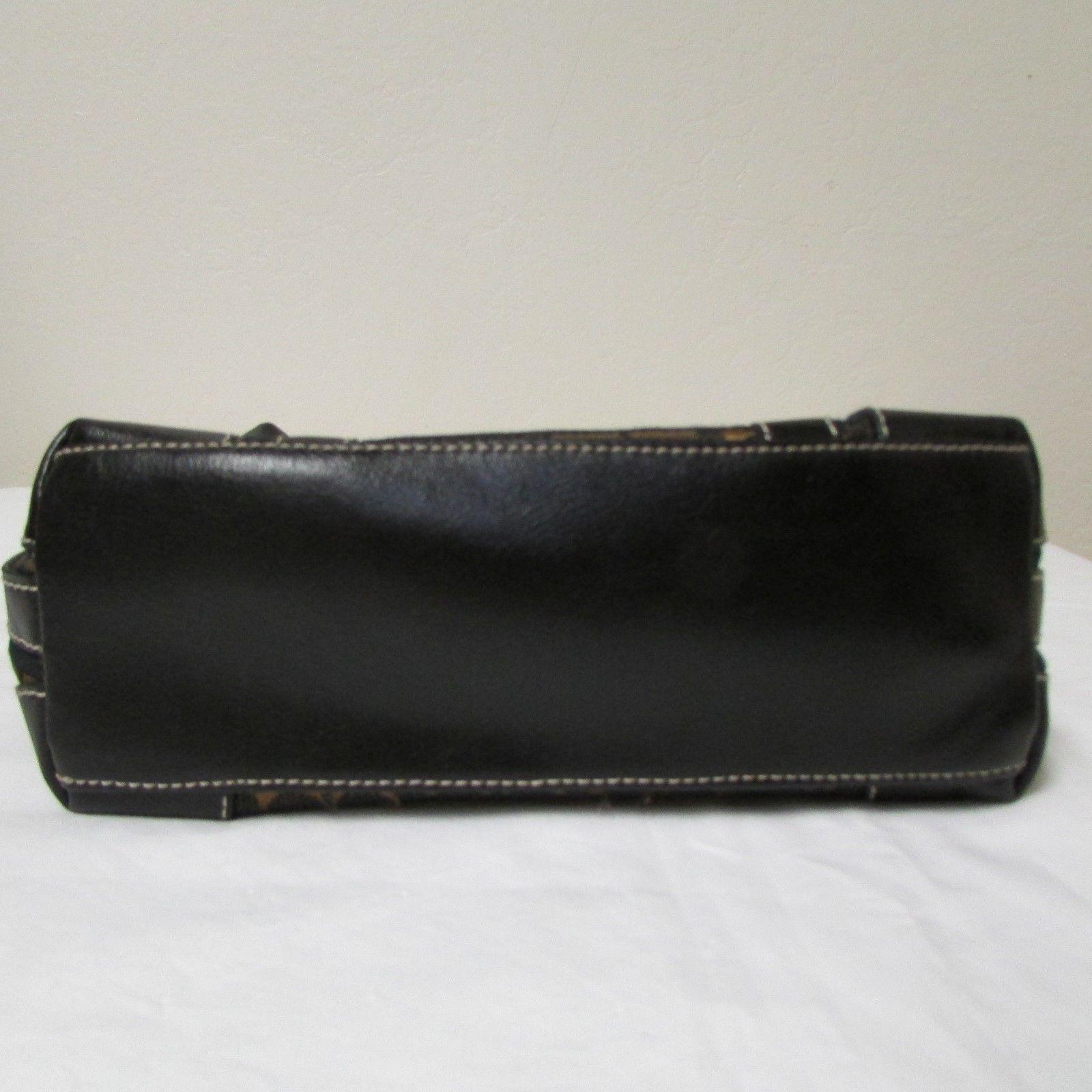 Vintage Liz Claiborne Black With Brown And Gold Fabric Shoulder Handbag Sz S image 4